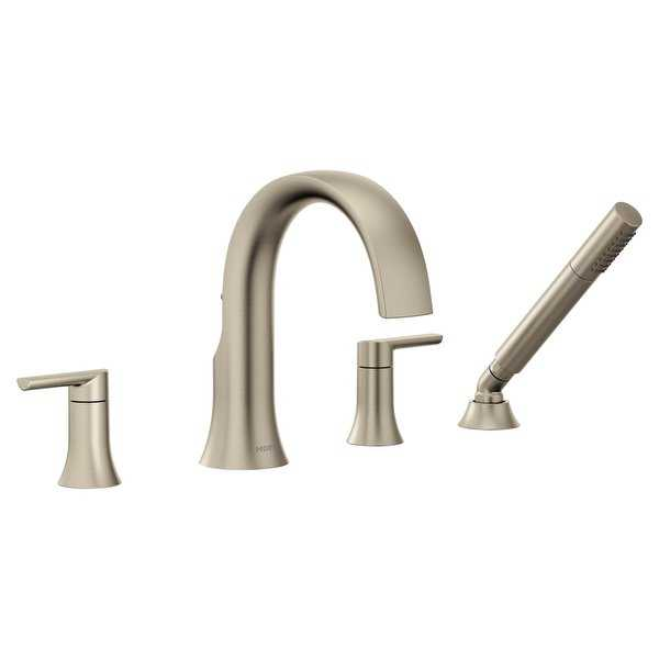 Moen TS984 Doux Widespread Roman Tub Faucet with Built-In Diverter - Includes 2.0 GPM Hand Shower - N/A