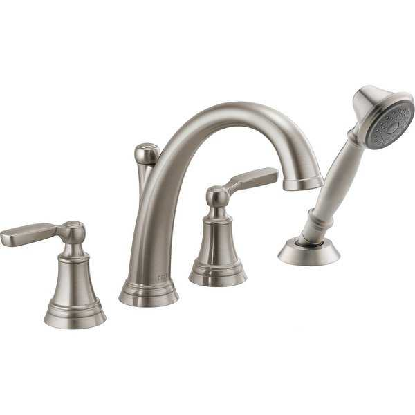 Delta T4732 Woodhurst Widespread Deck Mounted Roman Tub Faucet with Built-In Diverter - Includes Hand Shower - N/A