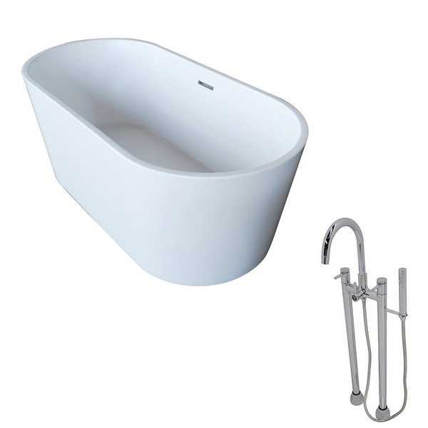 Anzzi Dover White Acrylic Standalone Soak Tub w/ Chrome Sol Faucet in Chrome