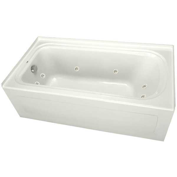 PROFLO PFW7236ALSK 72' x 36' Alcove 8 Jet Whirlpool Bath Tub with Skirt, Left Drain, and Right Hand Pump