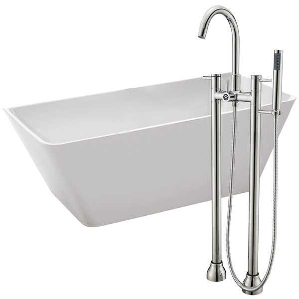 Zenith 67 in. Acrylic Soaking Bathtub in White with Sol Faucet in Brushed Nickel