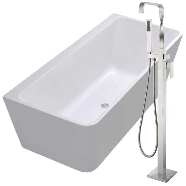 Strait 67 in. Acrylic Soaking Bathtub in White with Yosemite Faucet in Brushed Nickel
