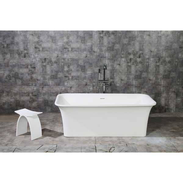 Kingston Brass Contemporary White Stone 67-inch Solid Surface Freestanding Rectangular Bathtub