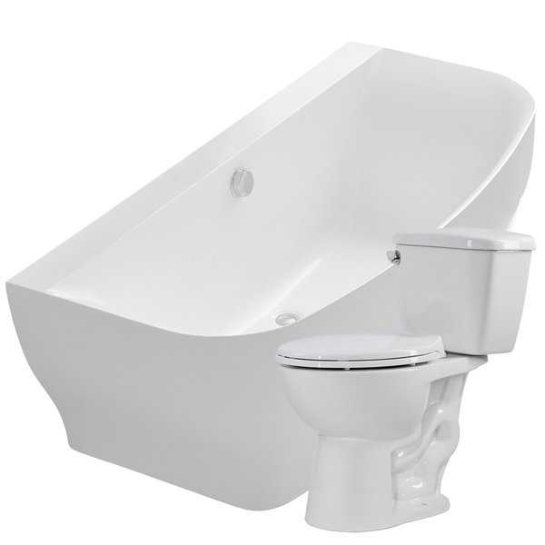 Bank 64.9 in. Acrylic Bathtub in White with Author 1.28 GPF Toilet