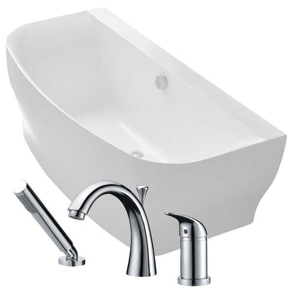 Bank 64.9 in. Acrylic Soaking Bathtub in White with Den Faucet in Polished Chrome