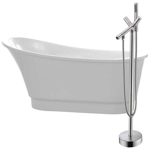 Prima 67 in. Acrylic Soaking Bathtub in White with Havasu Faucet in Brushed Nickel
