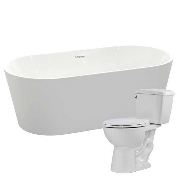 Chand 67 in. Acrylic Bathtub in White with Author 1.28 GPF Toilet