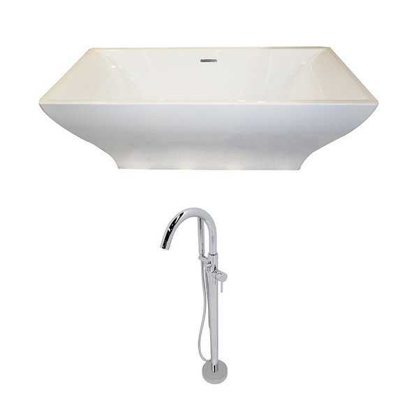 Anzzi Vision 5.9-foot Acrylic Double Slipper Freestanding Soaker Bathtub in White with Kros Faucet in Chrome
