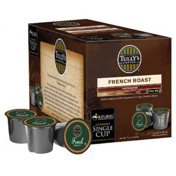 Tully's French Roast Extra Bold Coffee Single Serving K-Cup, 18-Count