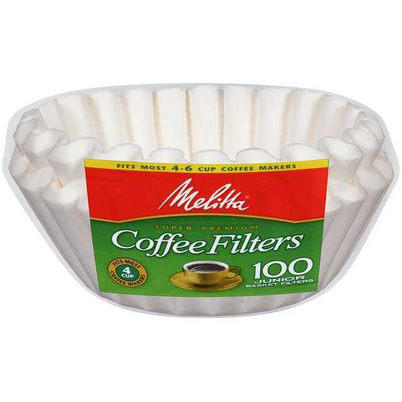 Melitta 4-6 Cup Jr. Basket Coffee Filters, White, 100 Count